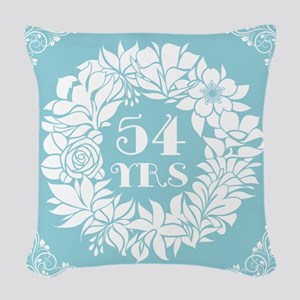 54th Anniversary Wreath Woven Throw Pillow