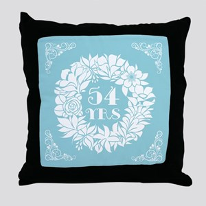 54th Anniversary Wreath Throw Pillow