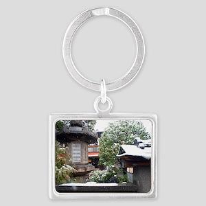 winter japanese garden Landscape Keychain