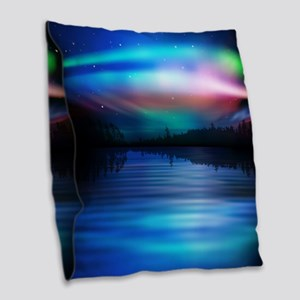 Northern Lights Burlap Throw Pillow