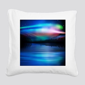 Northern Lights Square Canvas Pillow
