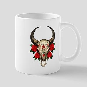Red Day of the Dead Bull Sugar Skull Mugs