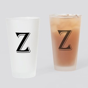 Fancy Letter Z Drinking Glass