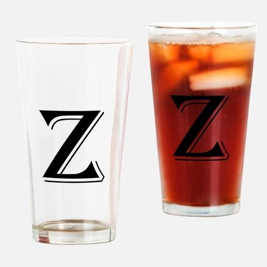 Fancy Letter Z Drinking Glass