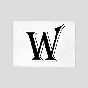 Fancy Letter W 5'x7'Area Rug