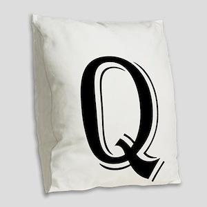 Fancy Letter Q Burlap Throw Pillow