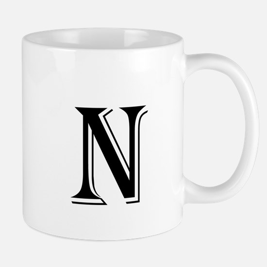 Fancy Letter N Mugs