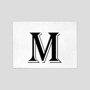 Fancy Letter M 5'x7'Area Rug