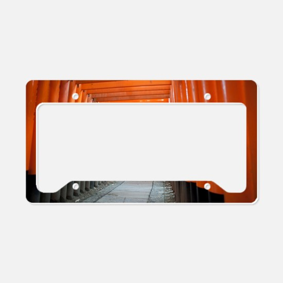 red torii gates kyoto License Plate Holder