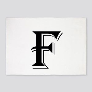 Fancy Letter F 5'x7'Area Rug