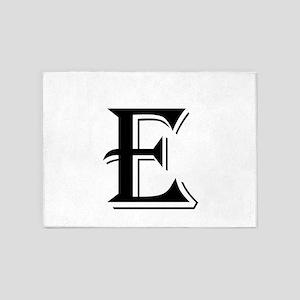 Fancy Letter E 5'x7'Area Rug