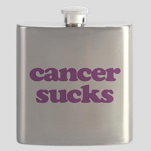 Cancer Sucks Purple Awareness Flask