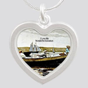 I Love My Wonderful Grandson Silver Heart Necklace