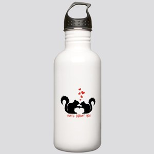 Nuts about you, squirrels in love Water Bottle