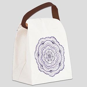 Purple Flower Doodle Canvas Lunch Bag