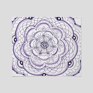 Purple Flower Doodle Throw Blanket