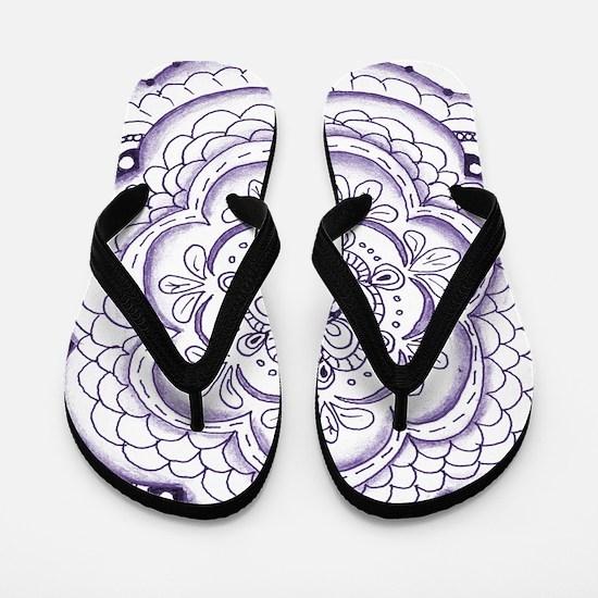 Purple Flower Doodle Flip Flops