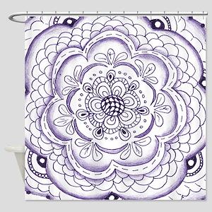 Purple Flower Doodle Shower Curtain