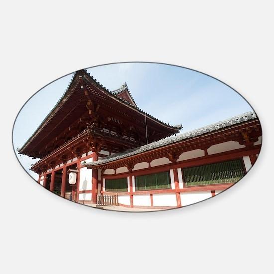 Todai-ji temple middle gate Sticker (Oval)