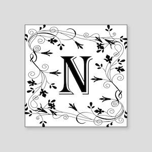 Letter N Leafy Border Sticker
