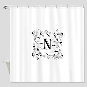 Letter N Leafy Border Shower Curtain