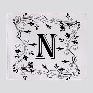 Letter N Leafy Border Throw Blanket