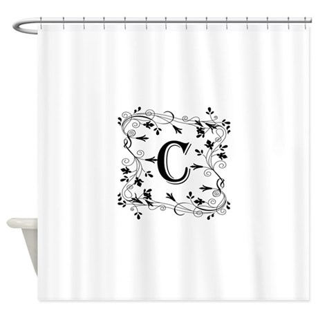 Letter C Leafy Border Shower Curtain by DecorativeLetters