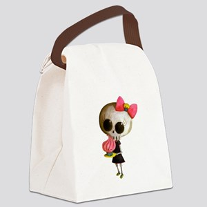 Skeleton Girl with Cupcake Canvas Lunch Bag
