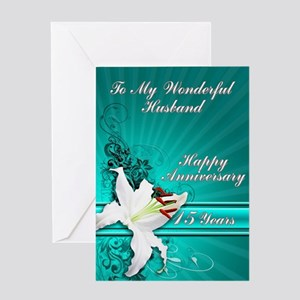 15th Anniversary card for a husband Greeting Cards