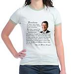 Ronald Reagan on Freedom Jr. Ringer T-Shirt