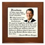 Ronald Reagan on Freedom Framed Tile