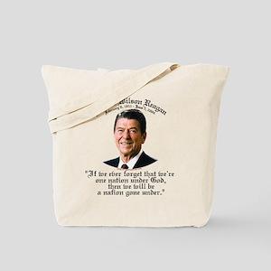Ronald Reagan Nation under God Tote Bag