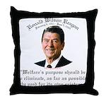 Ronald Reagan Welfare Quote Throw Pillow