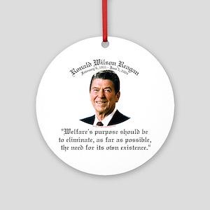 Ronald Reagan Welfare Quote Ornament (Round)