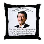 Reagan 9 Terrifying Words Throw Pillow