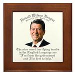 Reagan 9 Terrifying Words Framed Tile