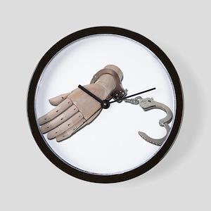 HandcuffsWoodenHand052711 Wall Clock