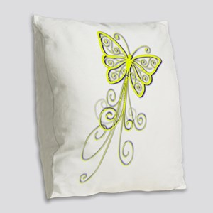Yellow butterfly Burlap Throw Pillow