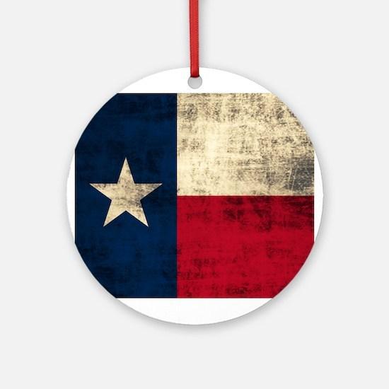 Grunge Texas Flag Ornament (Round)