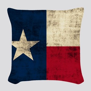 Grunge Texas Flag Woven Throw Pillow