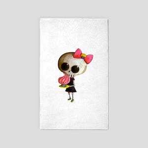 Skeleton Girl with Cupcake 3'x5' Area Rug