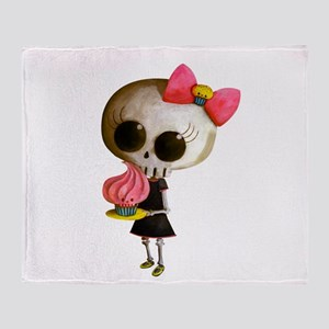 Skeleton Girl with Cupcake Throw Blanket