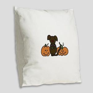 Halloween Dog Burlap Throw Pillow