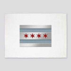 Chicago Flag Brushed Metal 5'x7'Area Rug