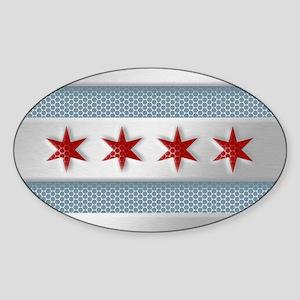 Chicago Flag Brushed Metal Sticker
