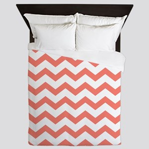 Coral Chevron Stripes Queen Duvet