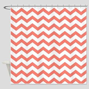 Coral Chevron Stripes Shower Curtain