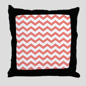 Coral Chevron Stripes Throw Pillow