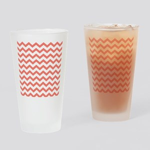 Coral Chevron Stripes Drinking Glass