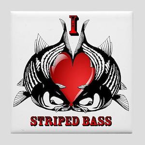I Heart Striped Bass Tile Coaster